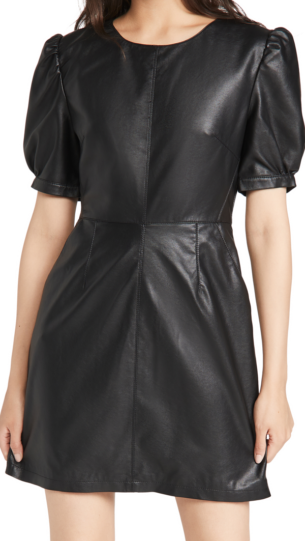 Cupcakes And Cashmere Maggie Faux Leather Minidress In Black