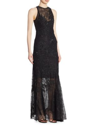 Jonathan Simkhai Sequin Lace Gown In Black