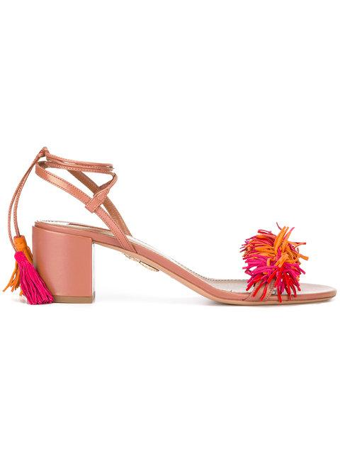 Aquazzura Tassel Block Heel Sandals