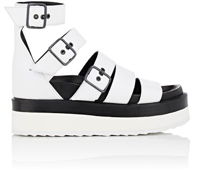 Pierre Hardy Mega Parallele Leather Platform Sandals In White