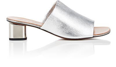 Robert Clergerie Lato Leather Slide Sandals In Silver