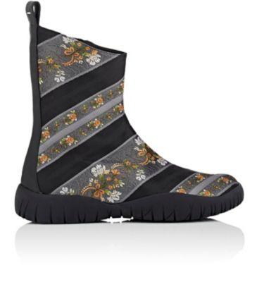 Maison Margiela Tabi Jacquard Ankle Boots In Black