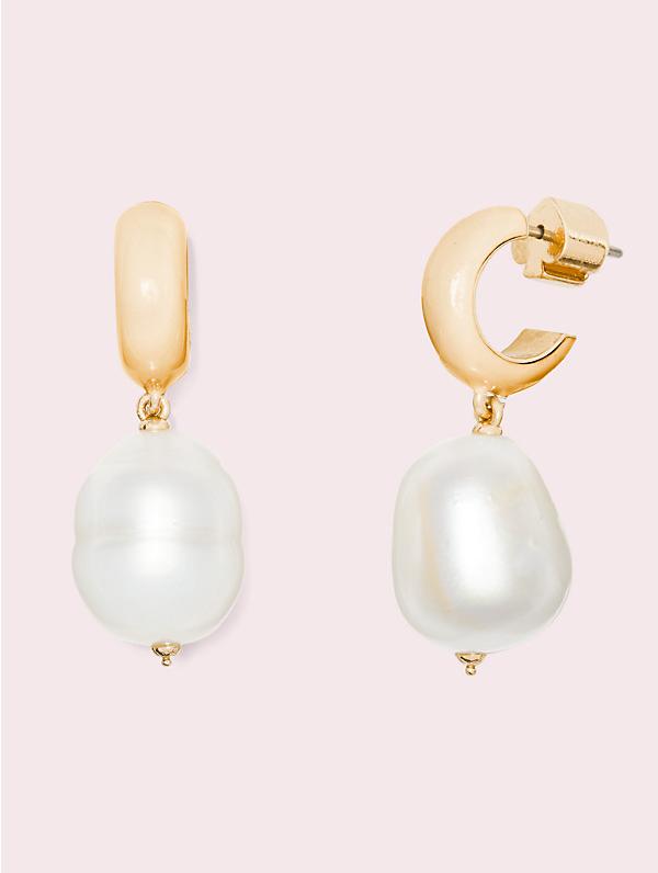 Kate Spade Candy Drops Pearl Drop Huggie Earrings In Gold