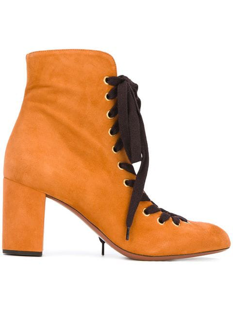ChloÉ Miles Lace Up Ankle Boots - Brown