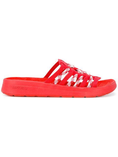 Missoni Malibu Humaliwo Woven Slip-On Sandals In Red