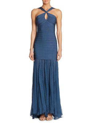 Herve Leger Sleeveless Keyhole Bandage Gown With Chiffon Skirt, China Blue