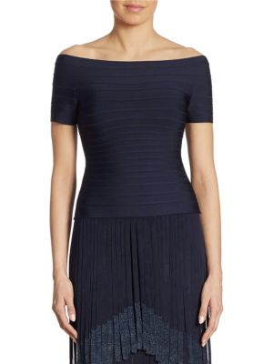 Herve Leger Off-The-Shoulder Bandage Top In Pacific Blue