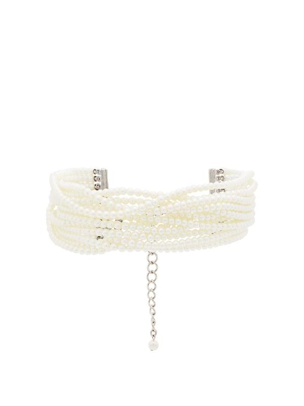 Kenneth Jay Lane White Multi Strand Pearl Choker Necklace