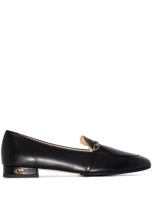 Jennifer Chamandi Leather Buckle Slip-on Loafers In Black