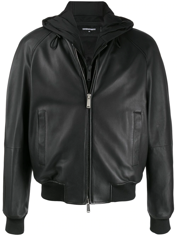 Dsquared2 Hooded Zip-up Bomber Jacket In Black