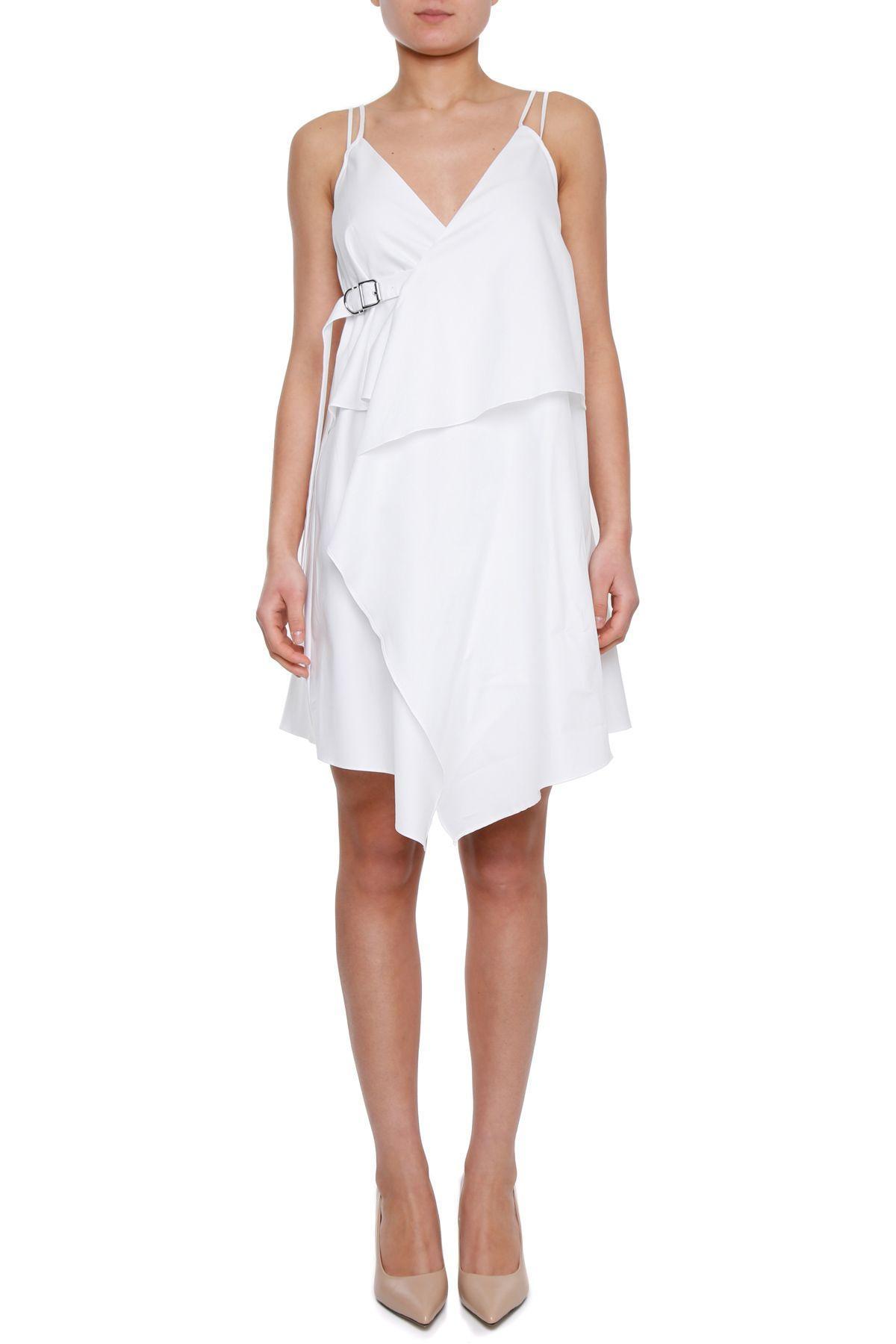 Carven Cotton Dress In Blanc Optique