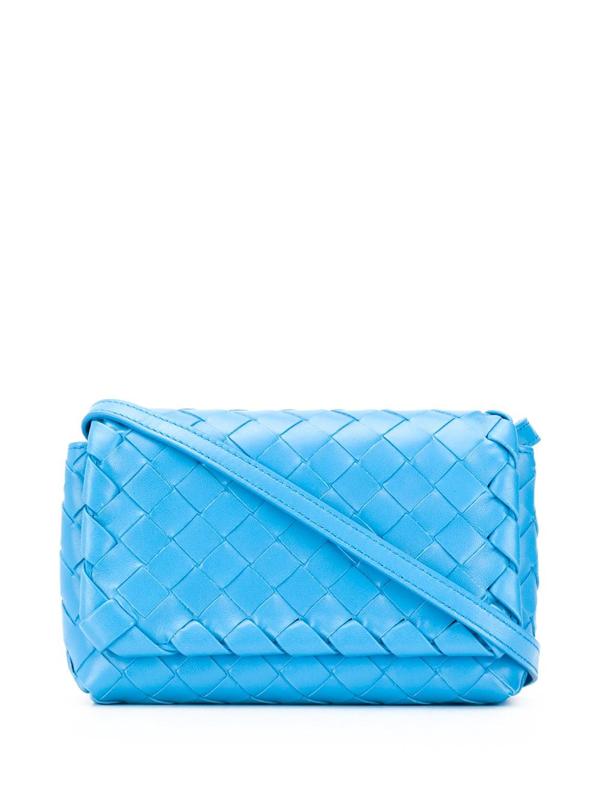 Bottega Veneta Intrecciato Mini Crossbody Bag In Blue