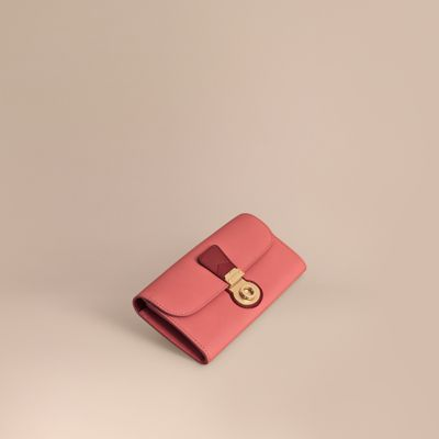 Burberry Two-Tone Trench Leather Continental Wallet In Blossom Pink/Antique Red