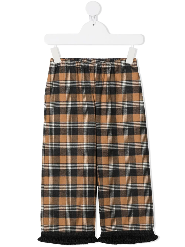 Touriste Kids' Cane Fringed-hem Check Trousers In Neutrals