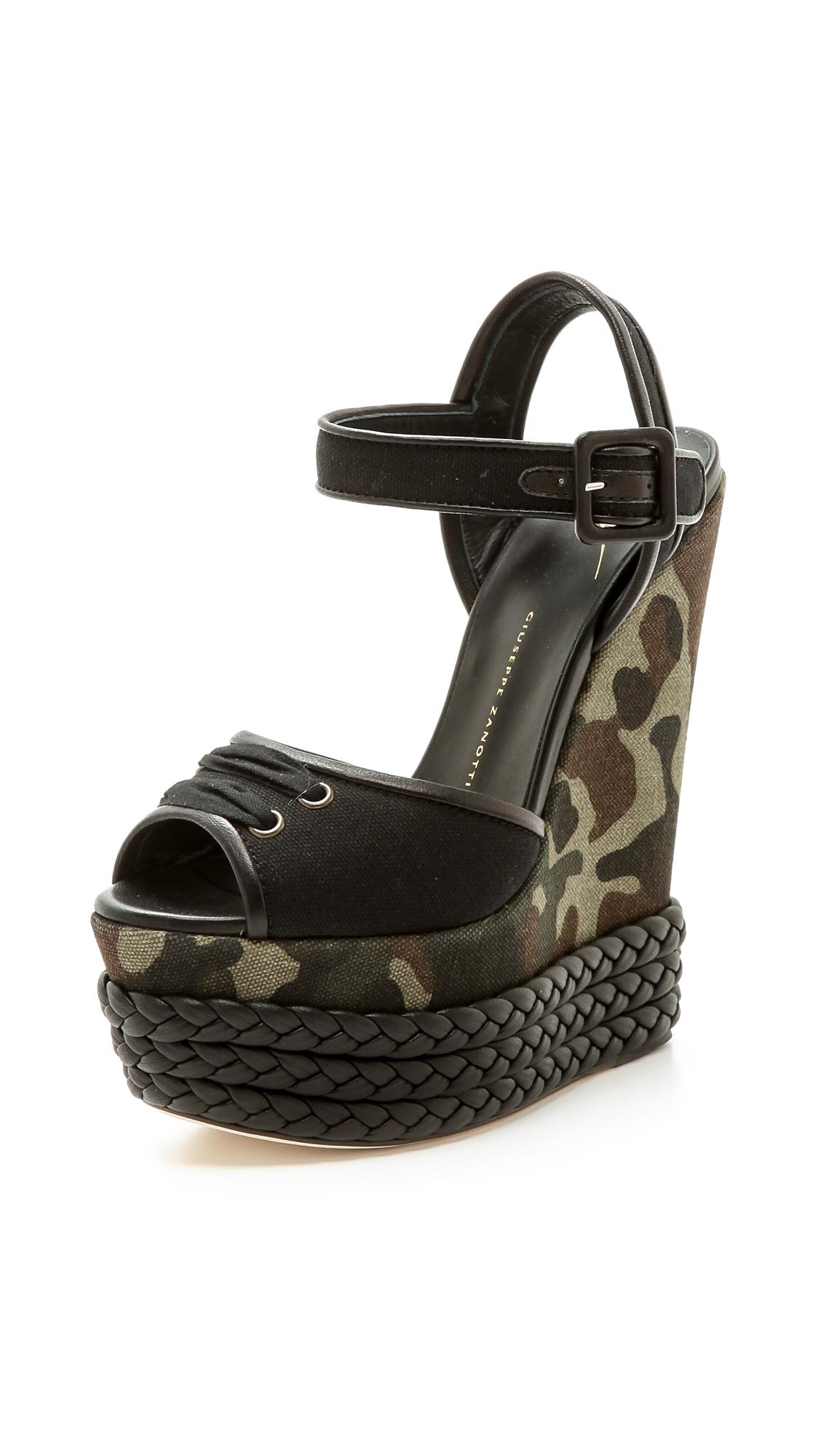 Giuseppe Zanotti Camouflage Canvas Wedge Sandals In Black