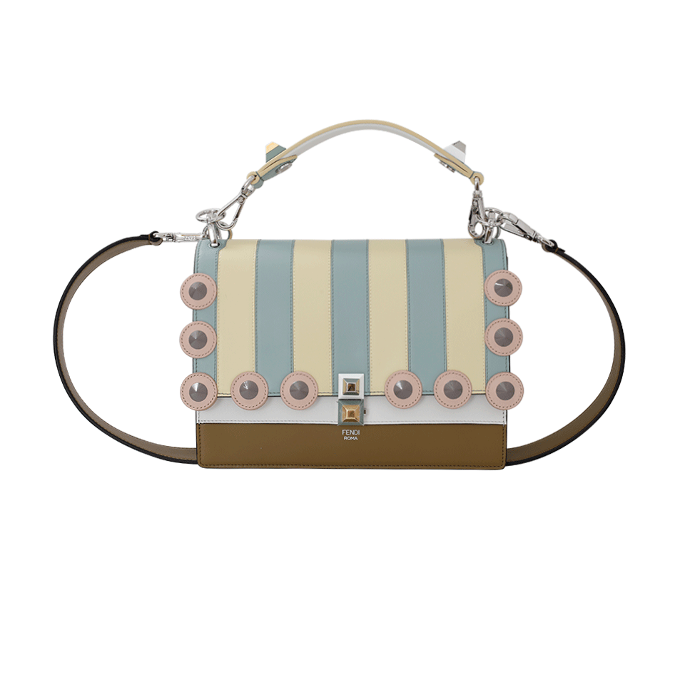 Fendi Marquetry Studded Handbag In Camaleon