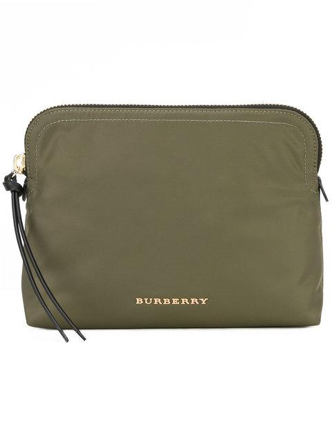 Burberry Small Zip-Top Technical Pouch In Green