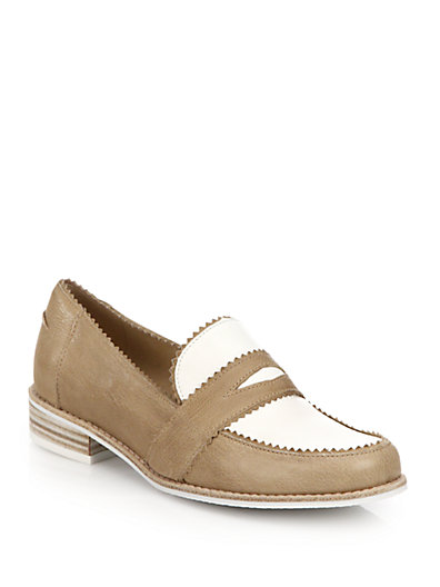 Stuart Weitzman School Days Two-tone Leather Loafers In Tan