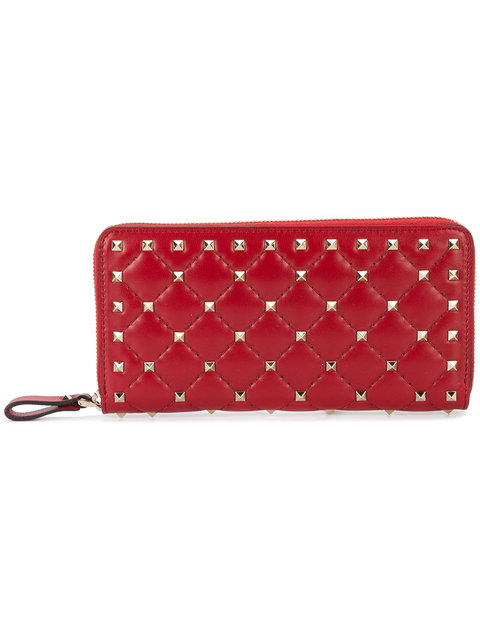 Valentino Rockstud Quilted Leather Continental Wallet In Black