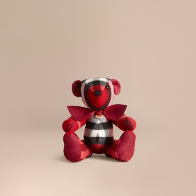 Burberry Thomas Bear In Check Cashmere In Parade Red