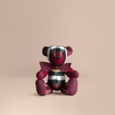 Burberry Thomas Bear In Check Cashmere In Plum