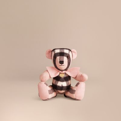 Burberry Thomas Bear In Check Cashmere In Ash Rose
