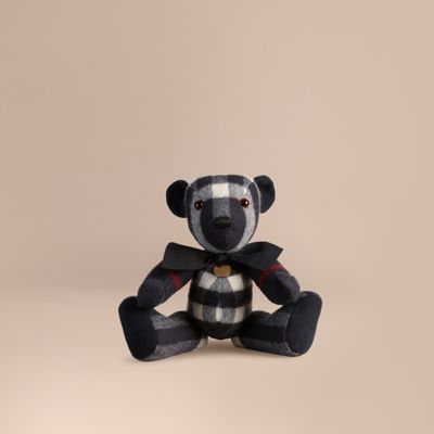 Burberry Thomas Bear In Check Cashmere In Navy