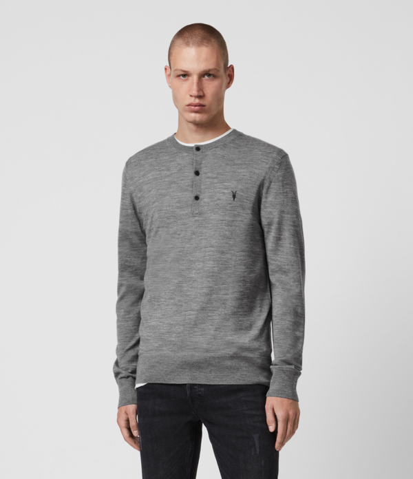 Allsaints Mode Merino Henley Sweater In Gray Marl