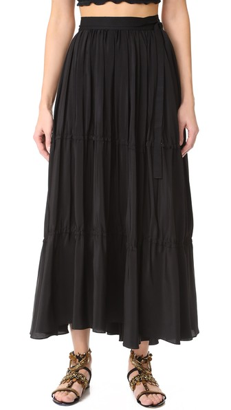 Tome Tiered Wrap Skirt In Black