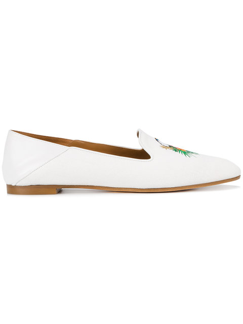 Aquazzura Woman Embroidered Leather-Trimmed Raffia Slippers White