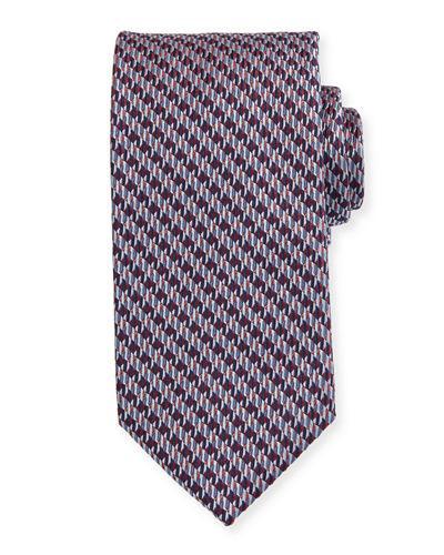 Brioni Textured Houndstooth Tie In Red