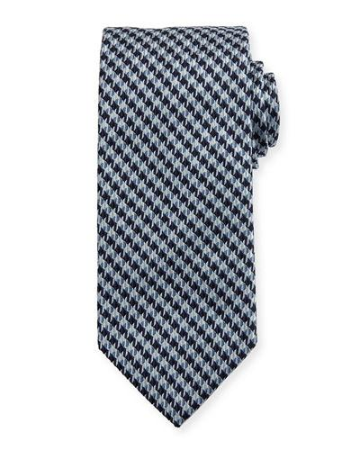 Brioni Neat-Geometric-Pattern Silk Necktie In Blue