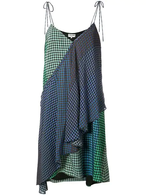 Opening Ceremony Woman Foulard Printed Wrap-Effect Silk-Twill Mini Dress Violet In Blue Multi