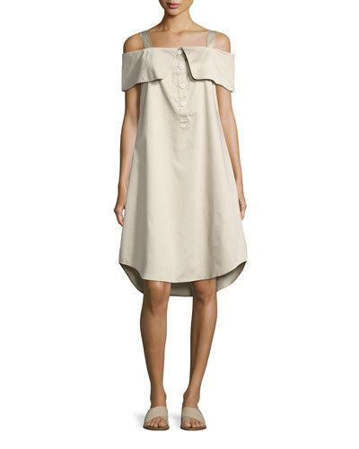 Opening Ceremony French Cuff Cold-Shoulder Dress, Khaki
