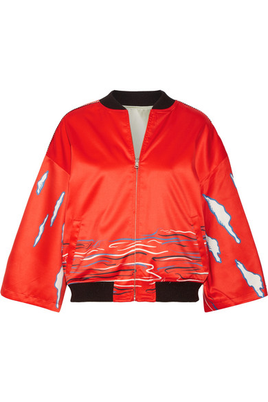 Opening Ceremony Mountain Print Kimono Sleeve Reversible Silk Bomber Jacket In Tomato Red