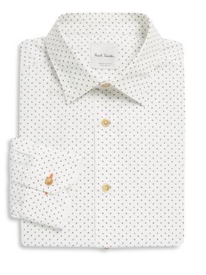 Paul Smith Airplane-Print Cotton Poplin Dress Shirt In White