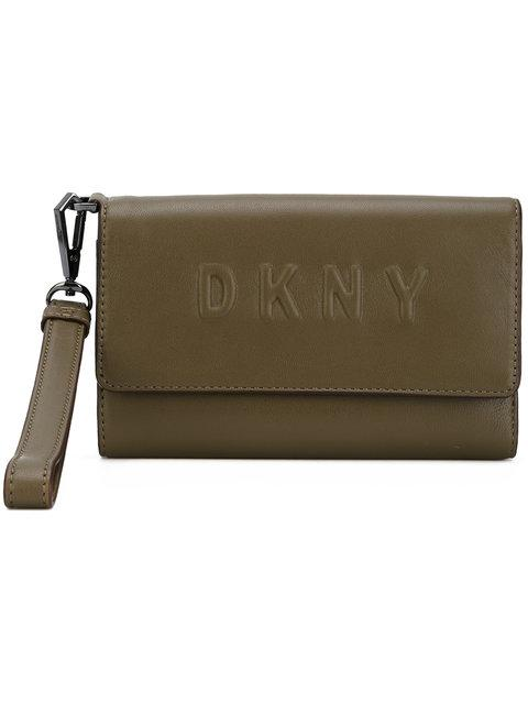 Dkny Debossed Logo Wallet In Verde Militare