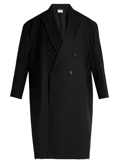 Vetements X Brioni Oversized Double-Breasted Wool Coat In Black