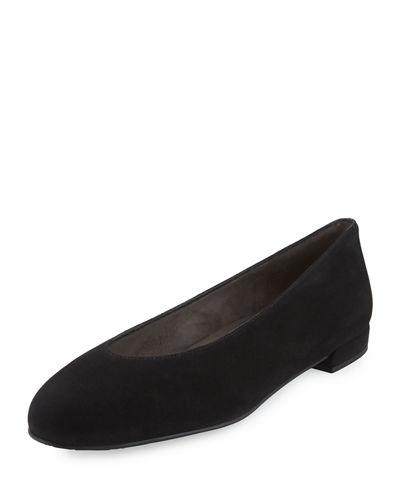 Stuart Weitzman Chicflat Velvet Almond-Toe Flat, Black