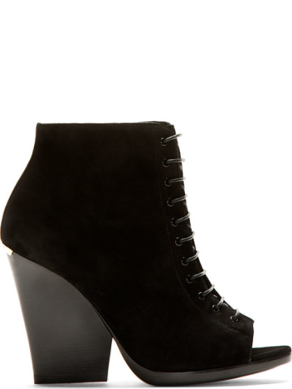 Burberry Virgina Ari Suede Open-Toe Ankle Boots In Llack