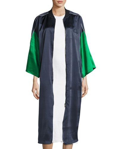 Opening Ceremony Reversible Embroidered Printed Silk-Satin Jacket In Navy