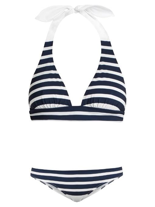 Dolce & Gabbana Stripe-Print Halterneck Bikini In Blue Stripe