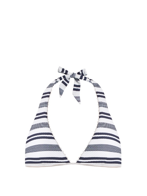 Heidi Klein Martha's Vineyard Striped Stretch-CloquÉ Halterneck Bikini Top In Blue Stripe