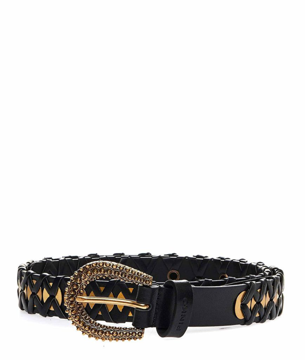Pinko Miagolio Leather Belt In Black