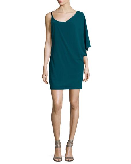 Halston Heritage Asymmetric-Sleeve Shift Dress, Spruce