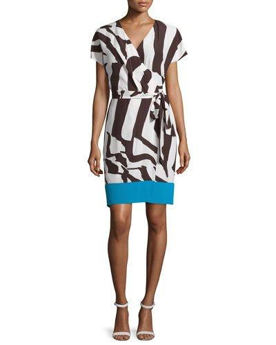 Escada Short-Sleeve Colorblock Wrap Dress, Mocca