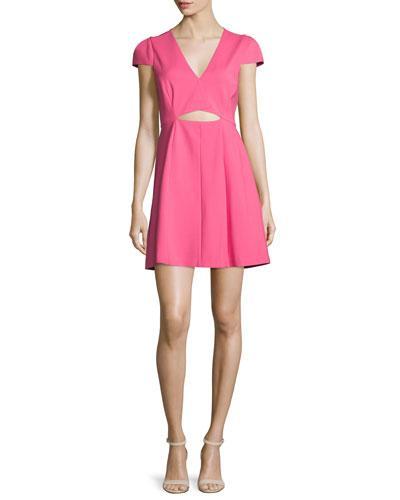 Halston Heritage Cap-Sleeve Cutout Dress, Hot Pink