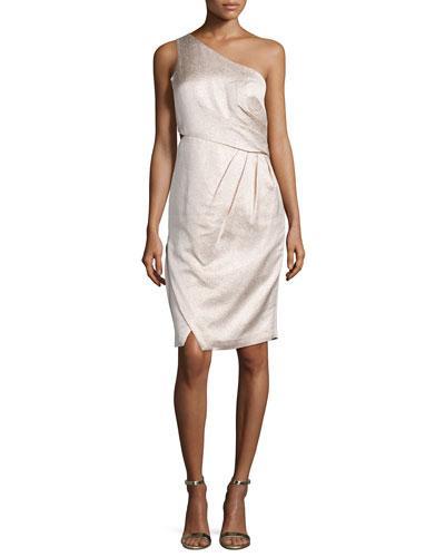 Monique Lhuillier Metallic One-Shoulder Cocktail Dress, Petal
