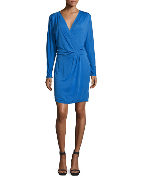 Haute Hippie Ruche-Side Mini Dress, Cobalt