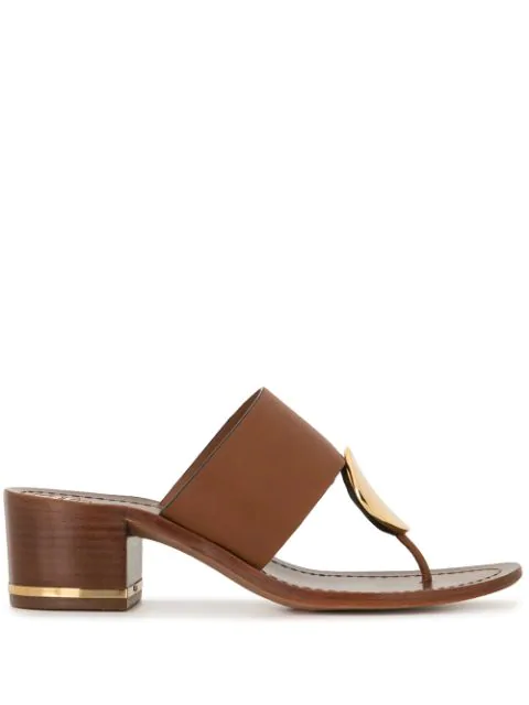 Tory Burch Women's Patos Disk-embellished Leather Thong Mules In Mou